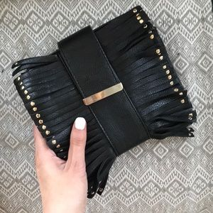 Black and silver fringe clutch